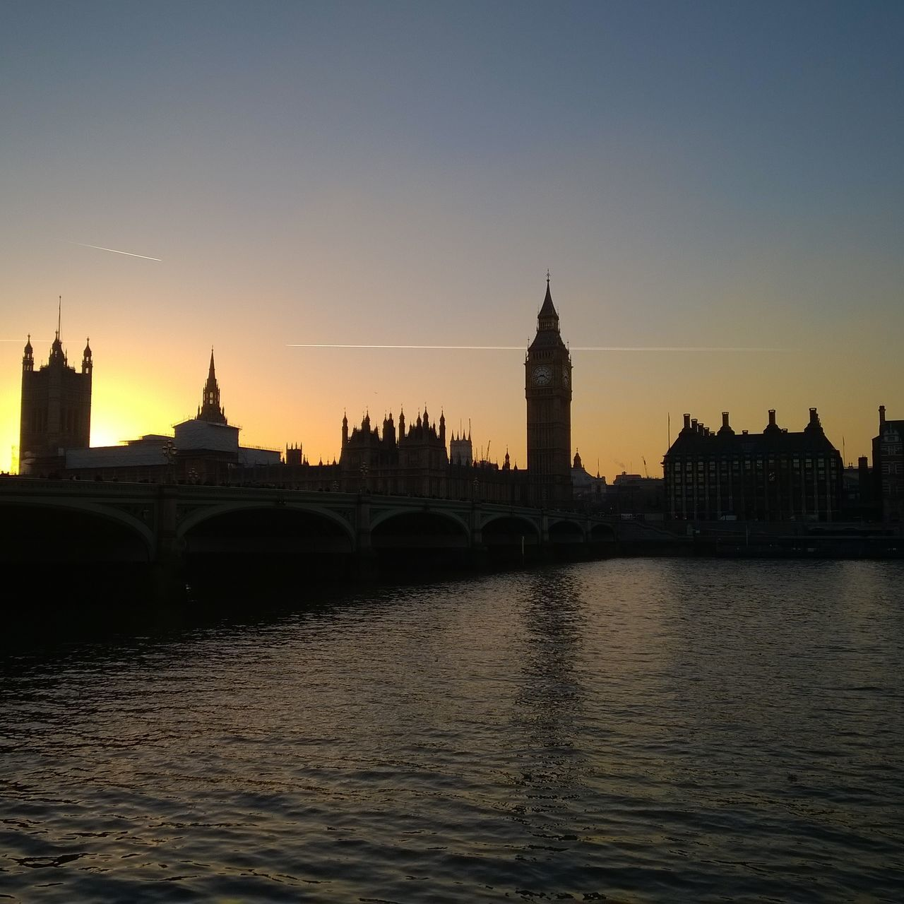 Architecture Big Ben Bridge - Man Made Structure City Cityscape Clock Tower London No People Outdoors Politics And Government Sky Sunset Tower Water