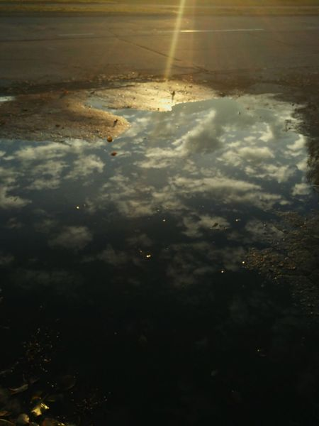 Reflection Nature Water Puddle No People Sunset Landscape Day Sky Clouds And Sky Cloudporn Road Walk Walking Light Proector