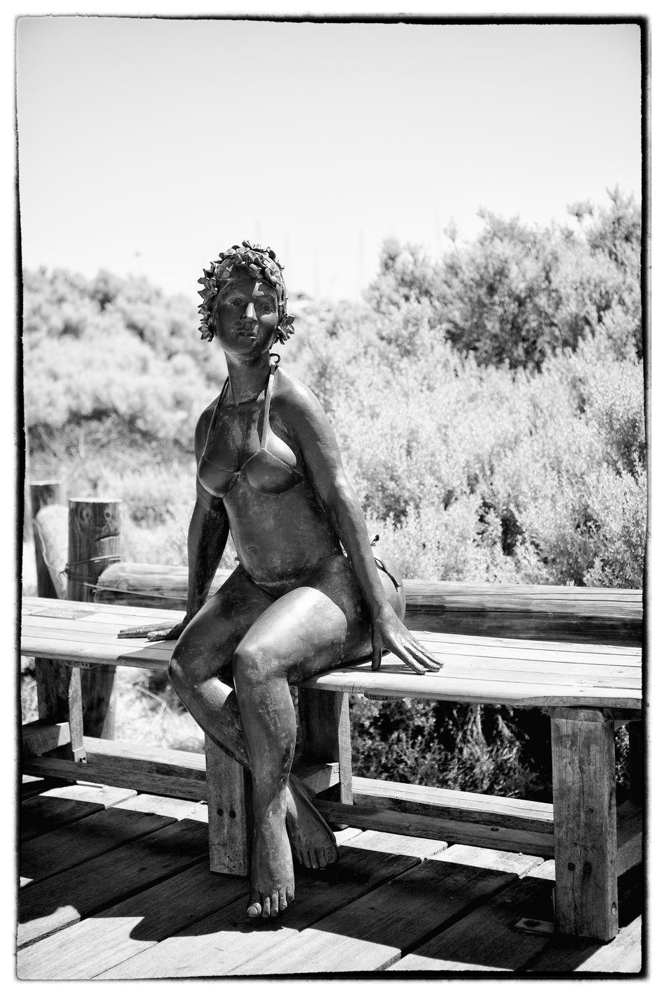 24-70mm Beach Black And White Blackandwhite Blackandwhite Photography Border Brass Canon Canonphotography Freemantle High Contrast Monochrome Sitting Statue Swimsuit Western Australia Woman