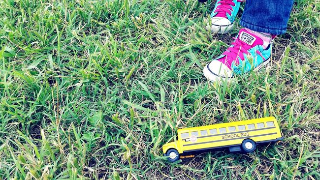 A Fieldtrip Little Girl Shoes Schoolbus Toy Playing Games Imagination Kids Imagination Colorful Shoes Converse All Star At Play Childs Play Childs Toy Showcase April Up Close Street Photography On The Way