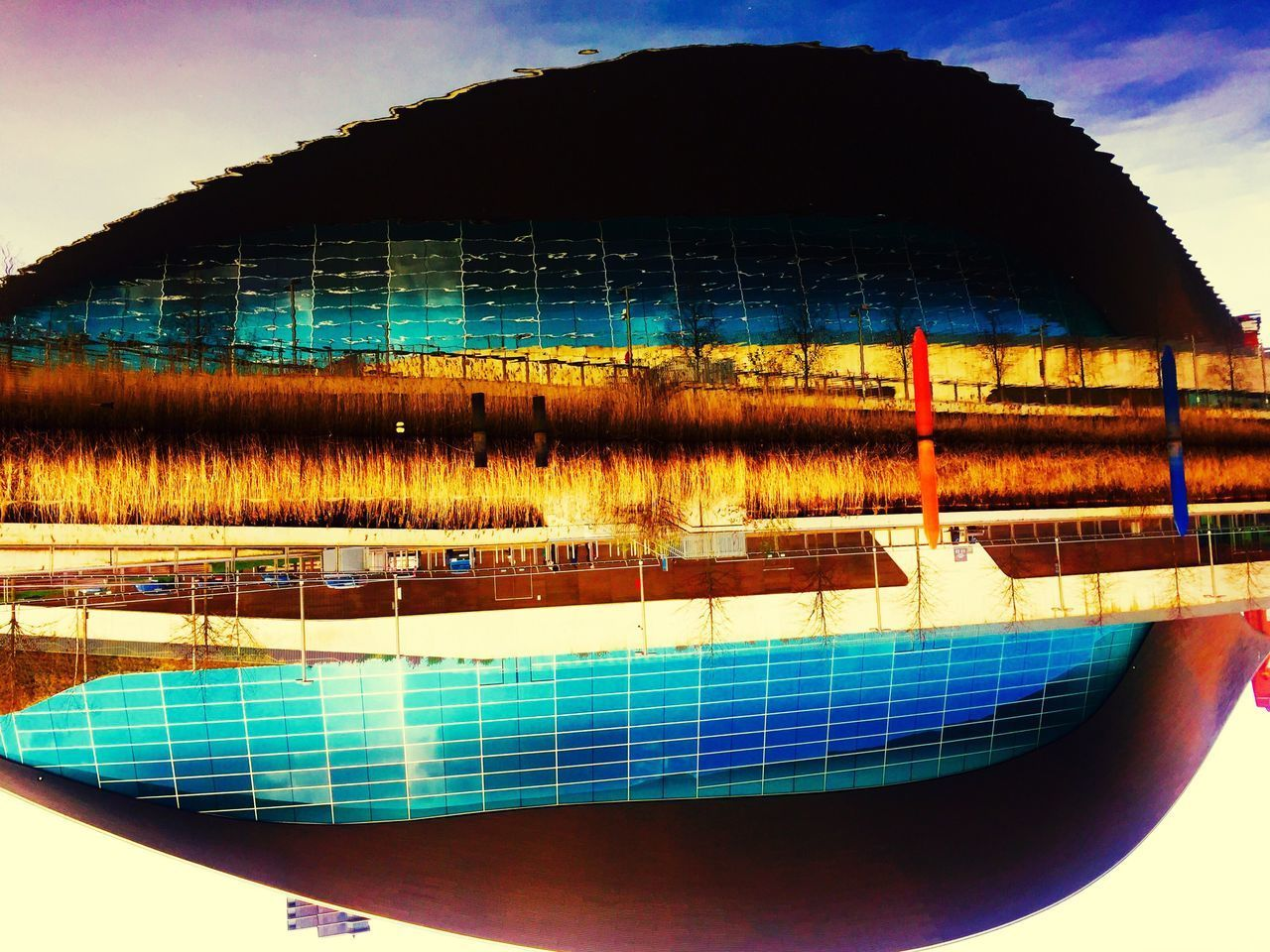 Upside Down Zaha Hadid Olympic Pool Multi Colored No People Close-up Indoors  Day Reflection City Of London