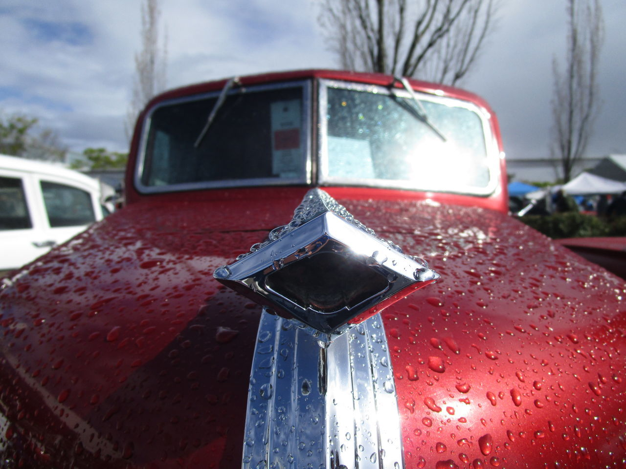 Chrome Day Focus On Foreground Land Vehicle Mode Of Transport No People Old Hood Ornament Outdoors Raindrops Red Tree Vintage Truck Weather Wet