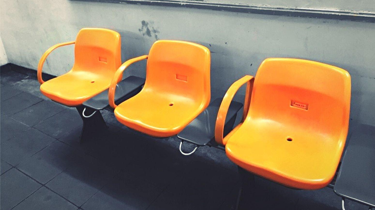 土合駅 Station Chair Orange Color Japan