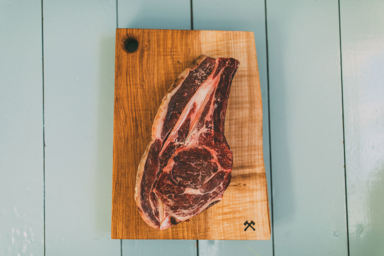 Day Food Food And Drink Freshness High Angle View Indoors  Meat No People Raw Food Steak Unhealthy Eating Wood - Material