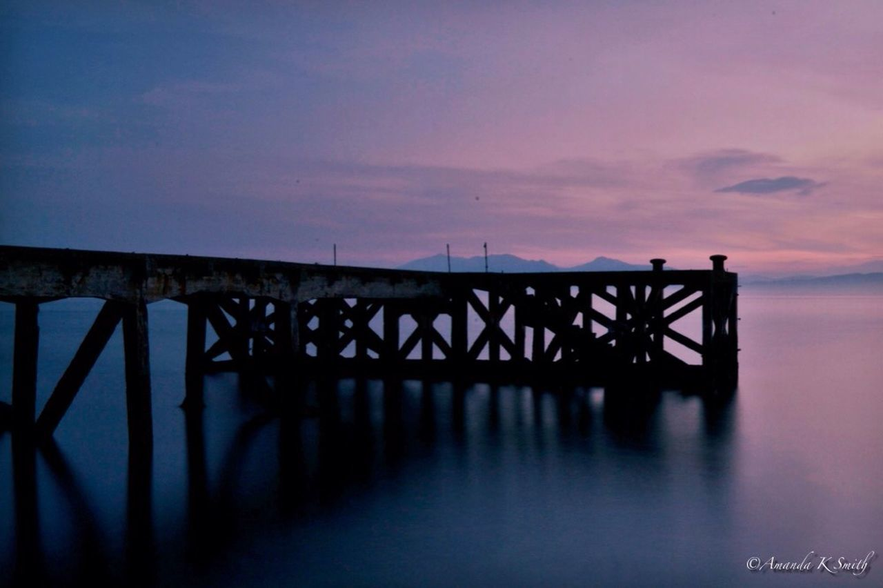 sunset, pier, nature, water, sea, sky, outdoors, no people