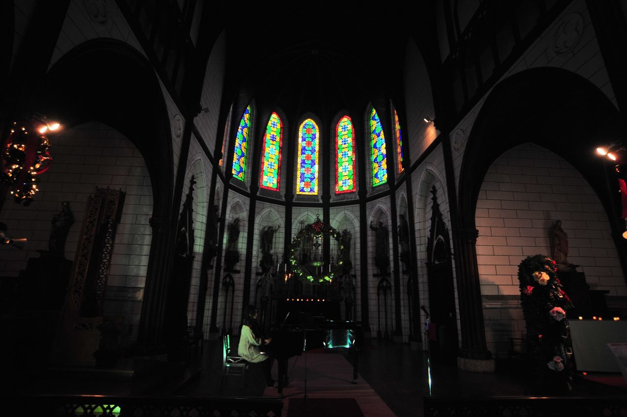 religion, place of worship, spirituality, architecture, built structure, indoors, illuminated, multi colored, building exterior, night, no people