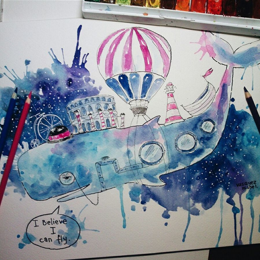 Space, Whale , Whalesong, Art, Illustrations, Sketchart, Watercolor, I_believe_I_can_fly, Town, Vasquez_mishel