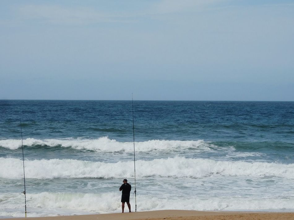 Ocean fishing. Blue Wave Nature_perfection EyeEm Best Shots Fishing Fine Art Photography Nature Ocean Ocean View Blue Water Water Blue Waves Oceanshores Ocean Waves Shore Adventure Beautiful Rock Wave Oualidia Beach Naturephotography Sand Outdoor Africa Morocco Oualidia