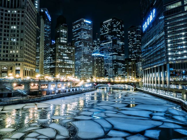 Architecture Ice Frozen River City Chicago Winter EyeEm Best Shots Cityscapes