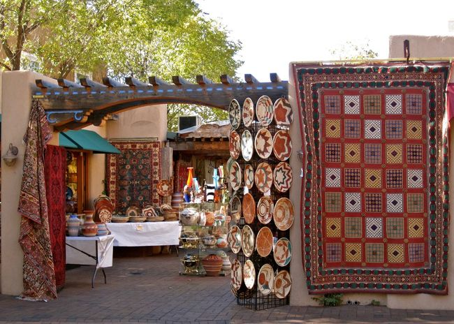 Architecture Art Blankets Colorful Day Goods Native American Culture No People Outdoors Pottery Tree Woven Baskets