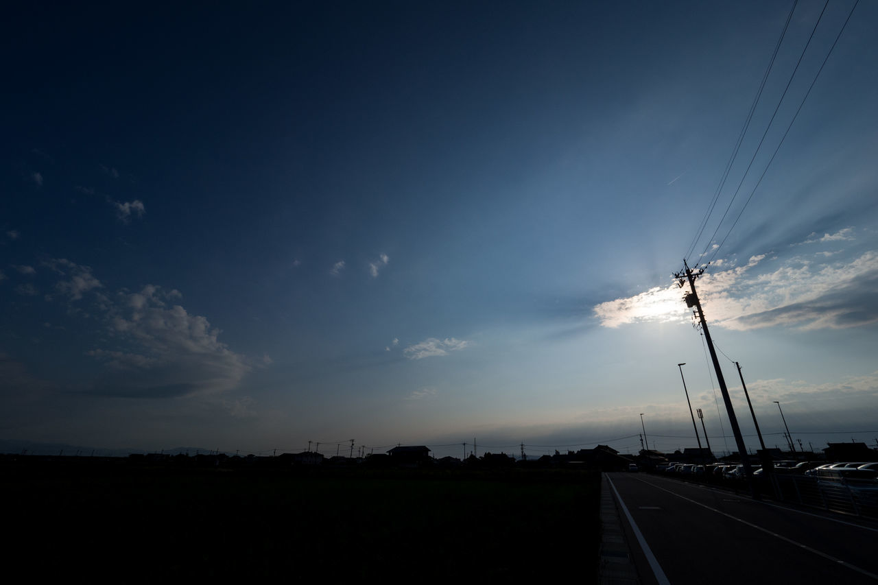 sky, connection, cloud - sky, cable, transportation, sunset, road, no people, silhouette, nature, outdoors, scenics, electricity pylon, beauty in nature, telephone line, day