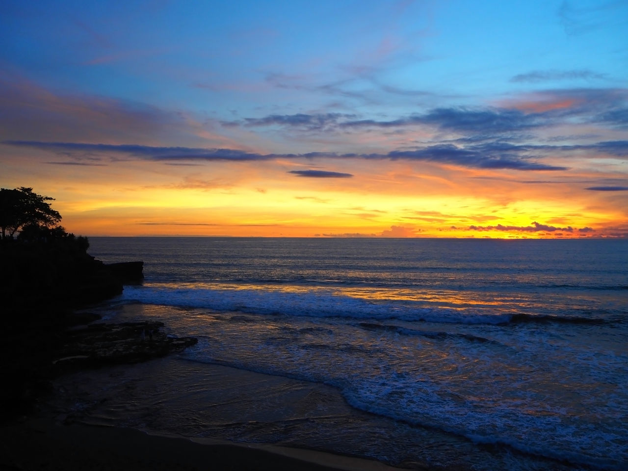 💙🌅 Sunset On The Beach 🌅💙 Life Is A Beach Travel Tanah Lot Wave Sunset Bali Bali, Indonesia Nature Landscapes Beauty In Nature Beach Cloud - Sky Dramatic Sky Exceptional Photographs Idyllic No People Outdoors Miles Away Scenics Sea Water Reflections Tadaa Community Tranquility Capture The Moment