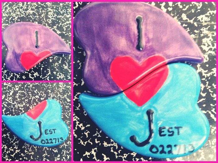 Made this for my baby at clay cafe :) est. 022713 <3 ~ symbol- 'We fit so perfectly'