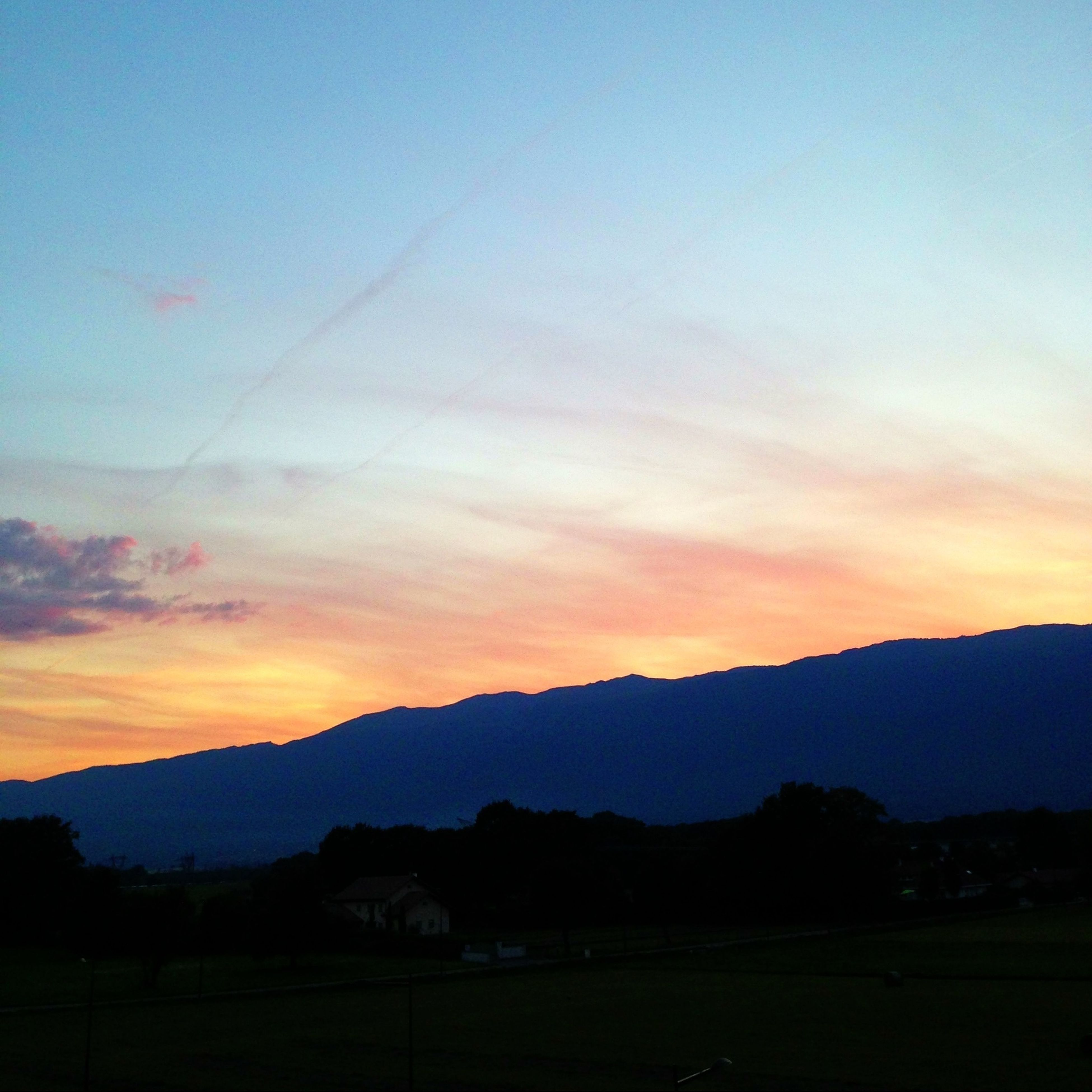 mountain, scenics, tranquil scene, sunset, landscape, mountain range, tranquility, beauty in nature, silhouette, sky, nature, idyllic, non-urban scene, tree, dusk, orange color, remote, outdoors, majestic, cloud
