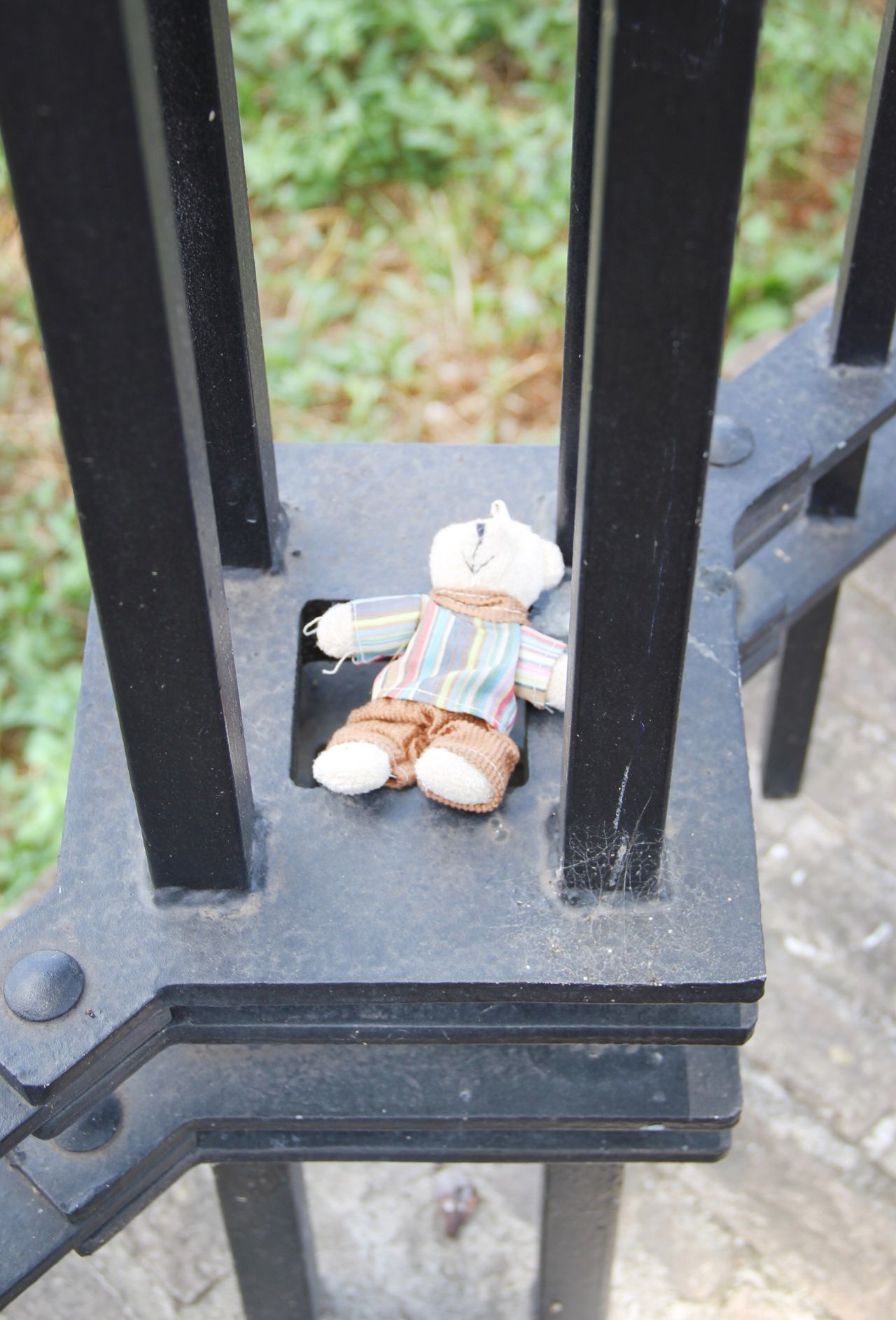 The lost toy Day High Angle View No People Outdoors Close-up Food Nature Lost Ladyphotographerofthemonth Toy Toys Sad Teddy Bear Stuffed Toy Bear Loosing Lost And Found City Life Fence Iron Sad Child