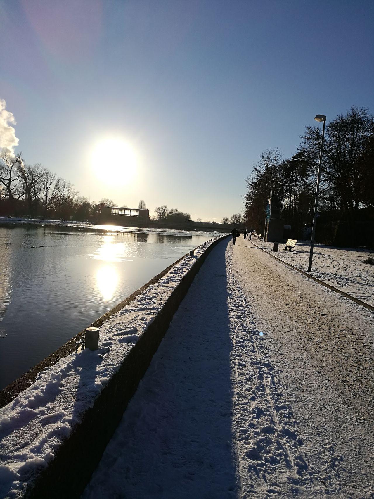 Main River Sun Snow Reflection