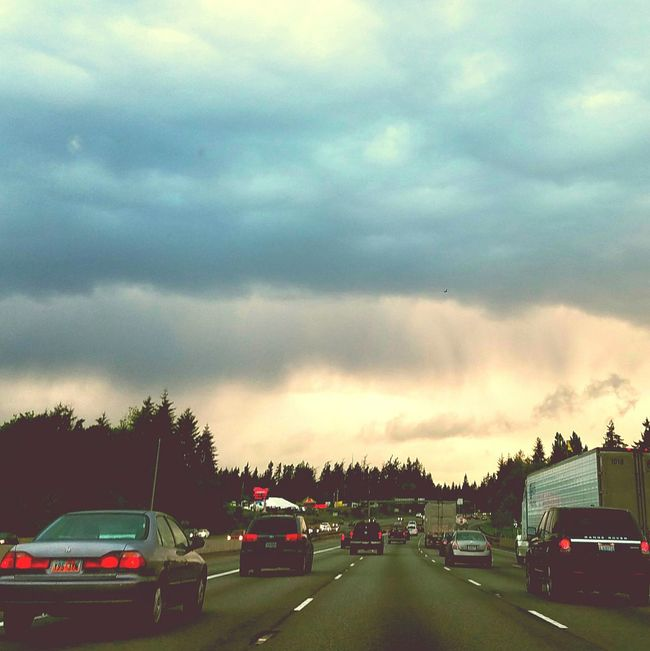 Driving Freeway Highway Traffic First Person View Sunset Storm Clouds Clouds And Sky On The Way Home Car Shot My View