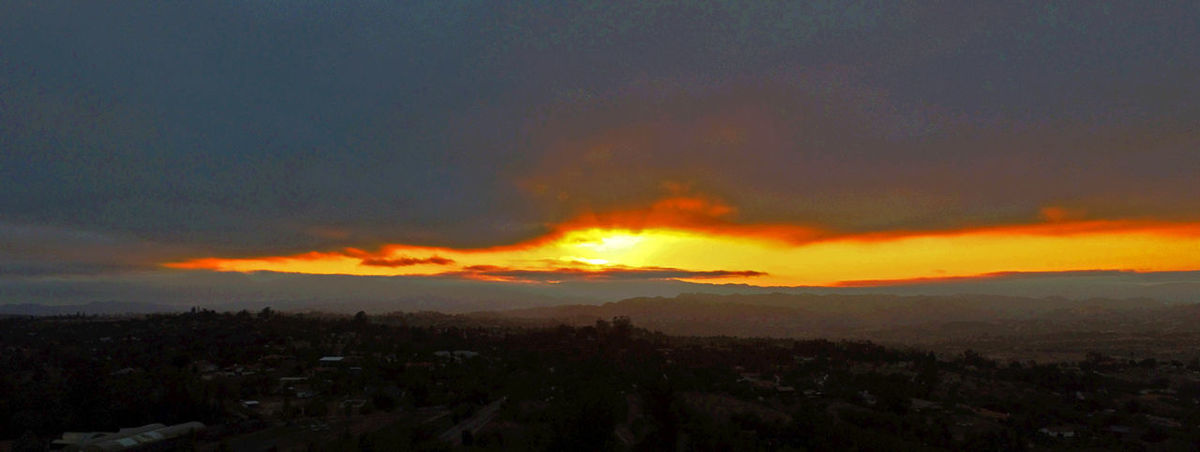 Slice of the western sky at sunset Tuesday over Fallbrook from a drone about 1000 feet above sea level at the eastern end of town. Drone  Fallbrook Sunset