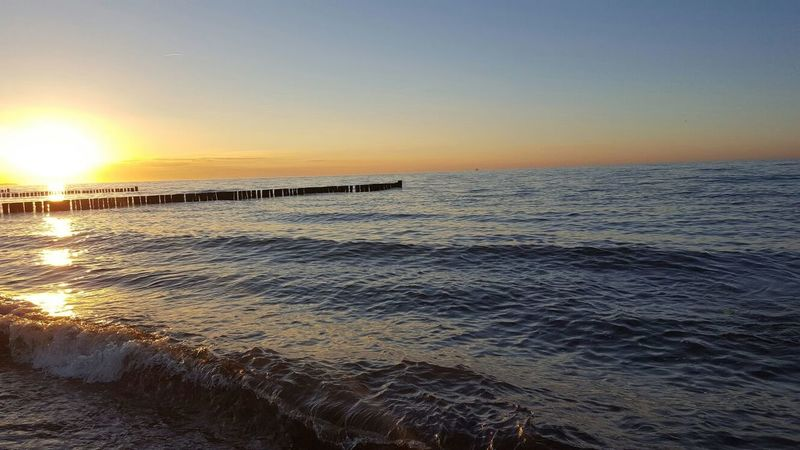 Sea Water Sunset Beauty In Nature Outdoors Beach Ostsee