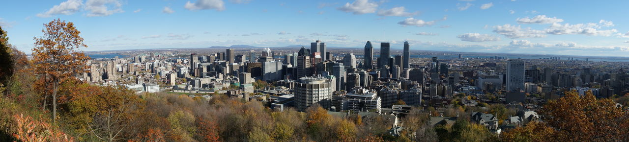 Montreal Skyline Architecture Autumn Autumn Leaves Business Business Finance And Industry Canada City Cityscape Day Forest Growth Hill Horizon Modern Montréal Mountain No People Outdoors Panoramic Sky Skyline Skyscraper Tree Urban Skyline Viewpoint