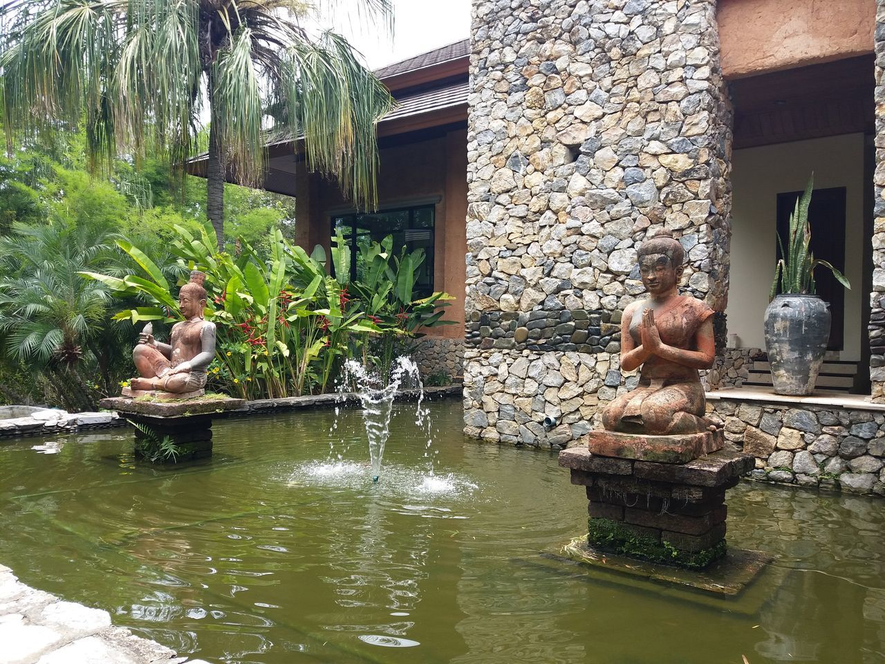 Water Statue Architecture Building Exterior Outdoors Day Religion Resort Hotel Spring Water