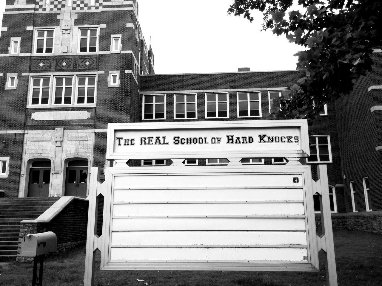 School Of Hard Knocks Urbex Urbex Photographie Urbexphotography Urbexexplorer Abandoned School Kansas Fort Scott Exploring New Ground Travel Photography Black And White Photography Sign
