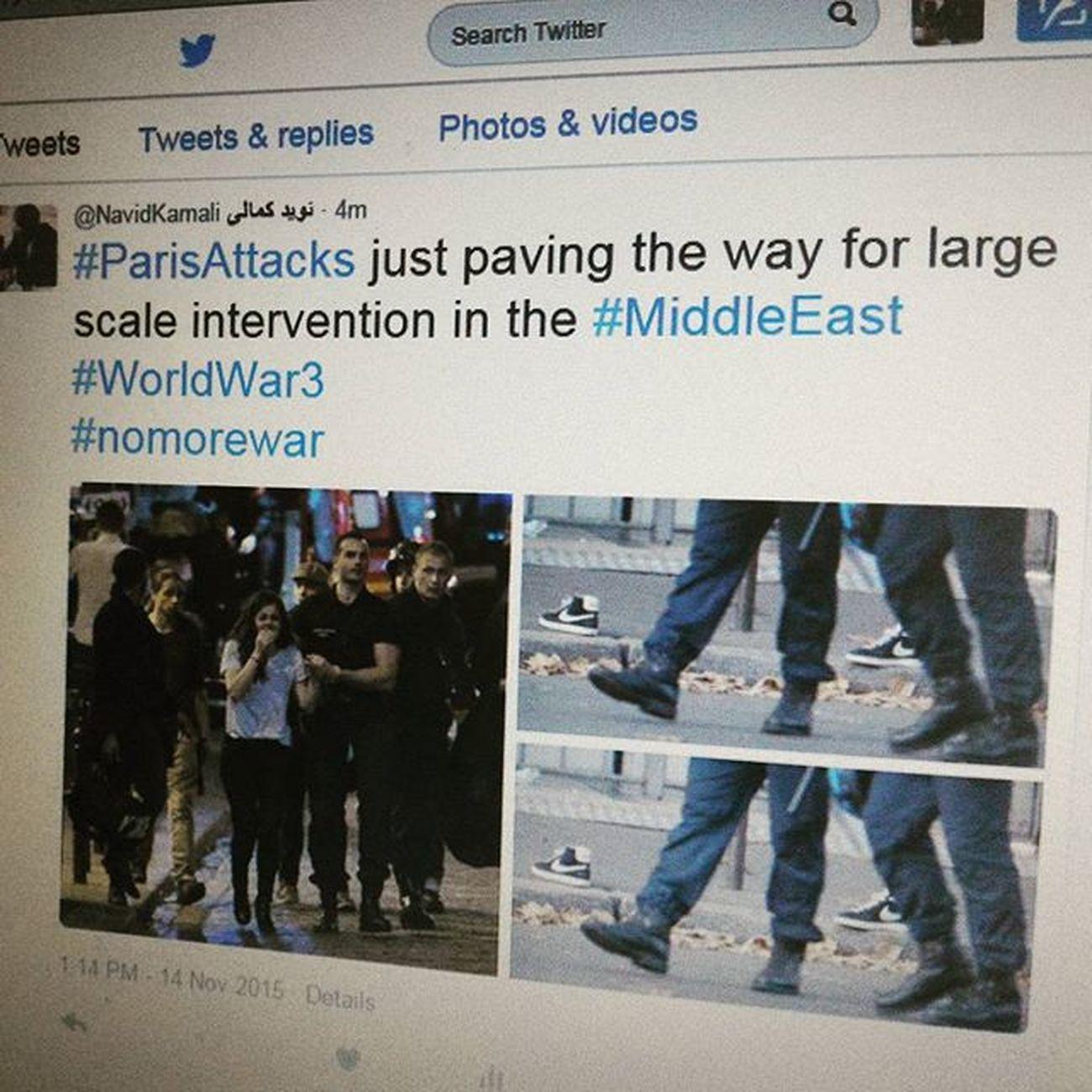 . . . وحشت در پاریس . . . پاریس برای نخستین بار پس از جنگ_جهانی دوم حکومت_نظامی را تجربه کرد . . . پی نوشت : اگر اخبار یک ماه گذشته را رصد نمایید خواهید دید که مقامات غربی تاکید ویژه ای بر اهمیت گسیل کردن پیاده نظام های خود به خاورمیانه داشته اند اما طبعا افکار عمومی این دولتها با این اقدام مخالف است اما حالا چه بهانه ای بهتر از کشتار تروریستی در پاریس ... در حقیقت حالا مقامات غربی قادر خواهند بود با پشتوانه افکار_عمومی بر ابعاد دخالتهای خود در خاورمیانه بیفزایند . . . ParisAttacks Terrorism Paris