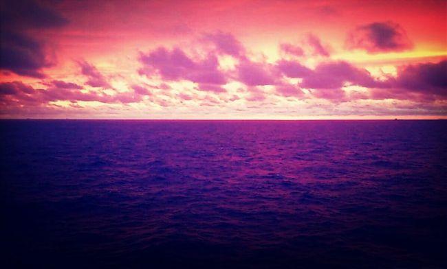 Red skies over purple seas. View