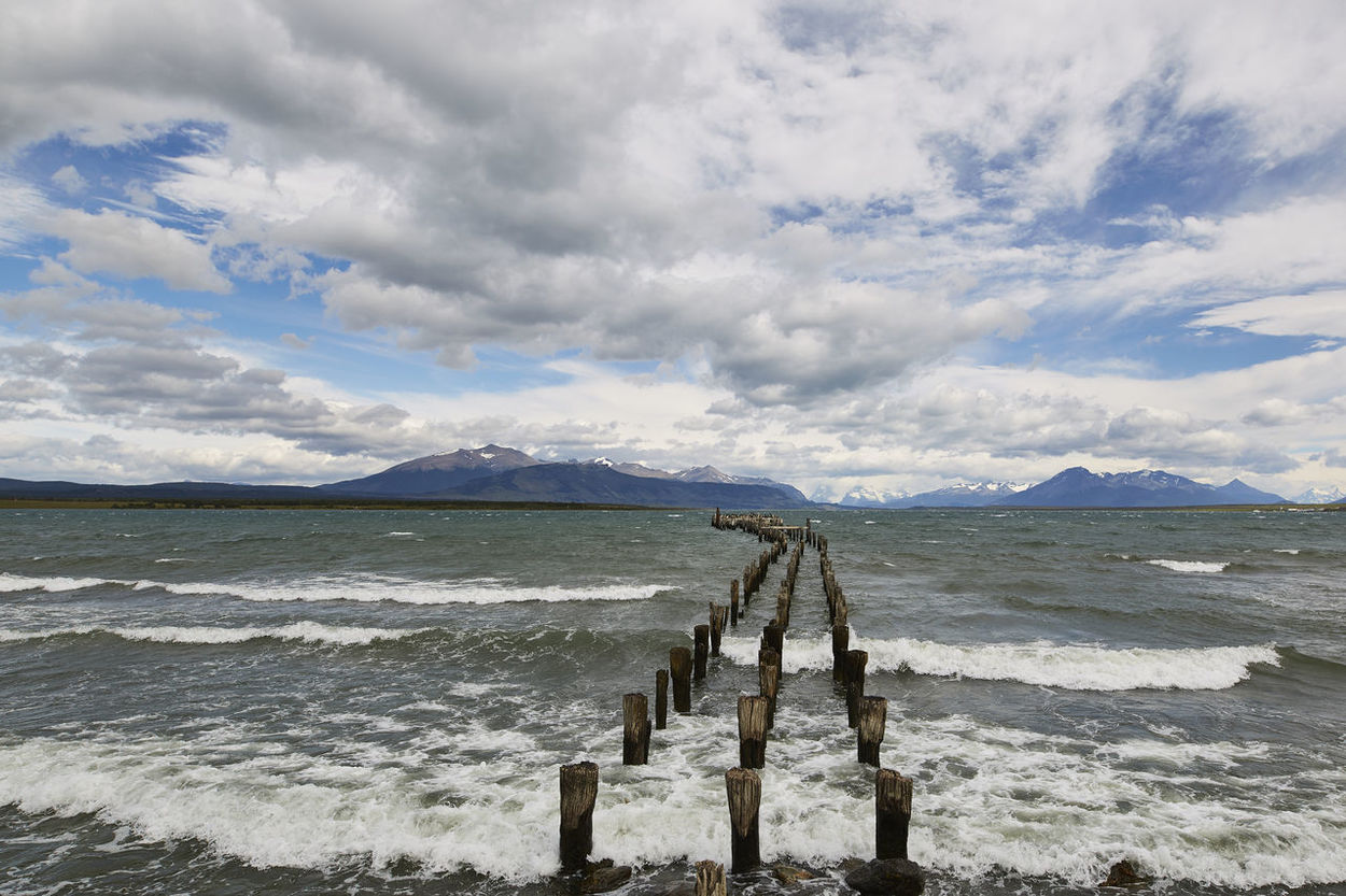 Beach Beauty In Nature Cloud - Sky Day Horizon Over Water Mountain Nature No People Outdoors Puerto Natales Sand Scenics Sea Sky Tranquil Scene Tranquility Water Wave