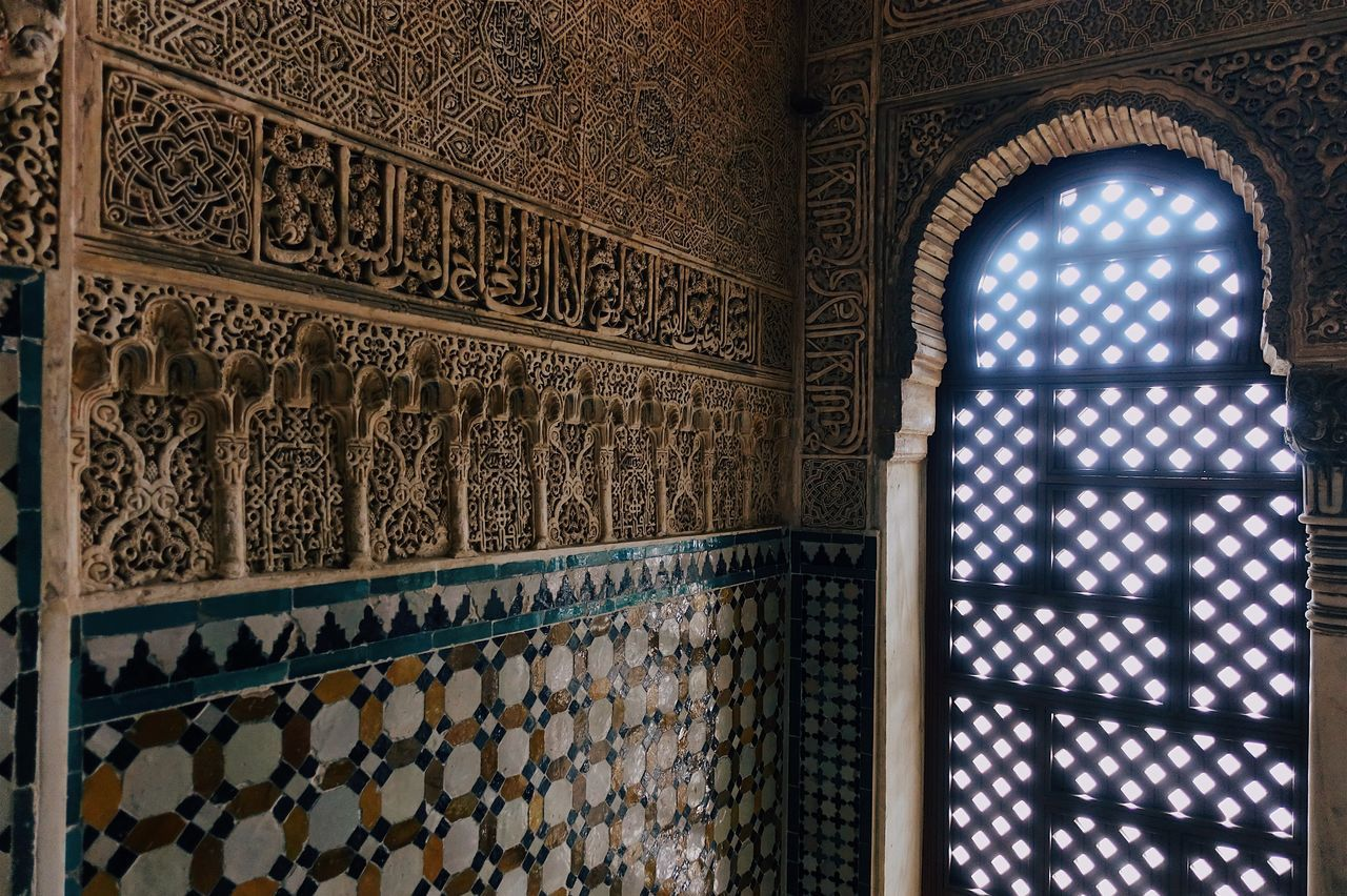 Alhambra Amazing Architecture Architecture_collection Building Built Structure Darkness And Light Geometric Shape Granada Historic Historical Building History Indoors  Light And Shadow Old Palace Pattern Perspective Shine SPAIN Sunlight Sunshine Travel Travel Destinations Window Live For The Story The Architect - 2017 EyeEm Awards