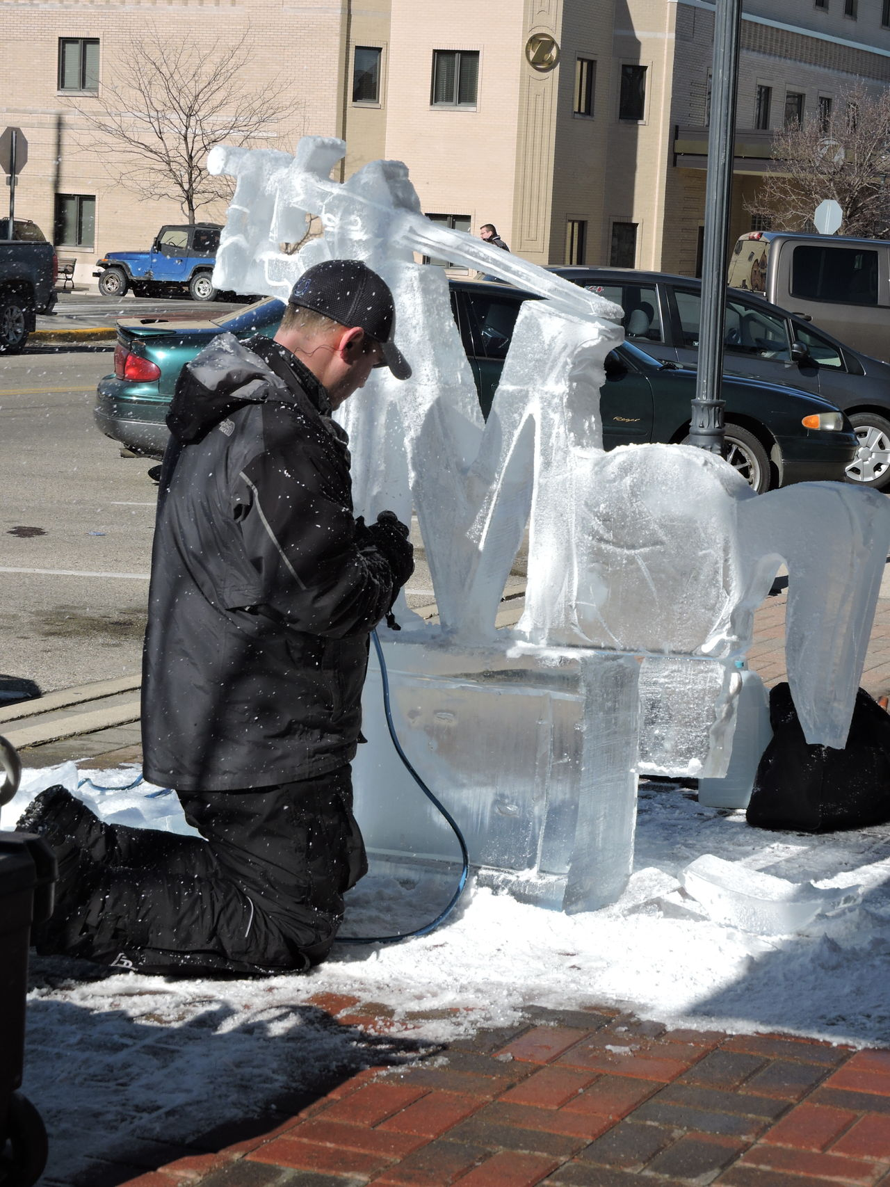 Fire and Ice Festival Adult Adults Only Artist At Work Cold Day Day Daytime Photography Headwear Ice Sculpture Occupation One Person Outdoors People Working