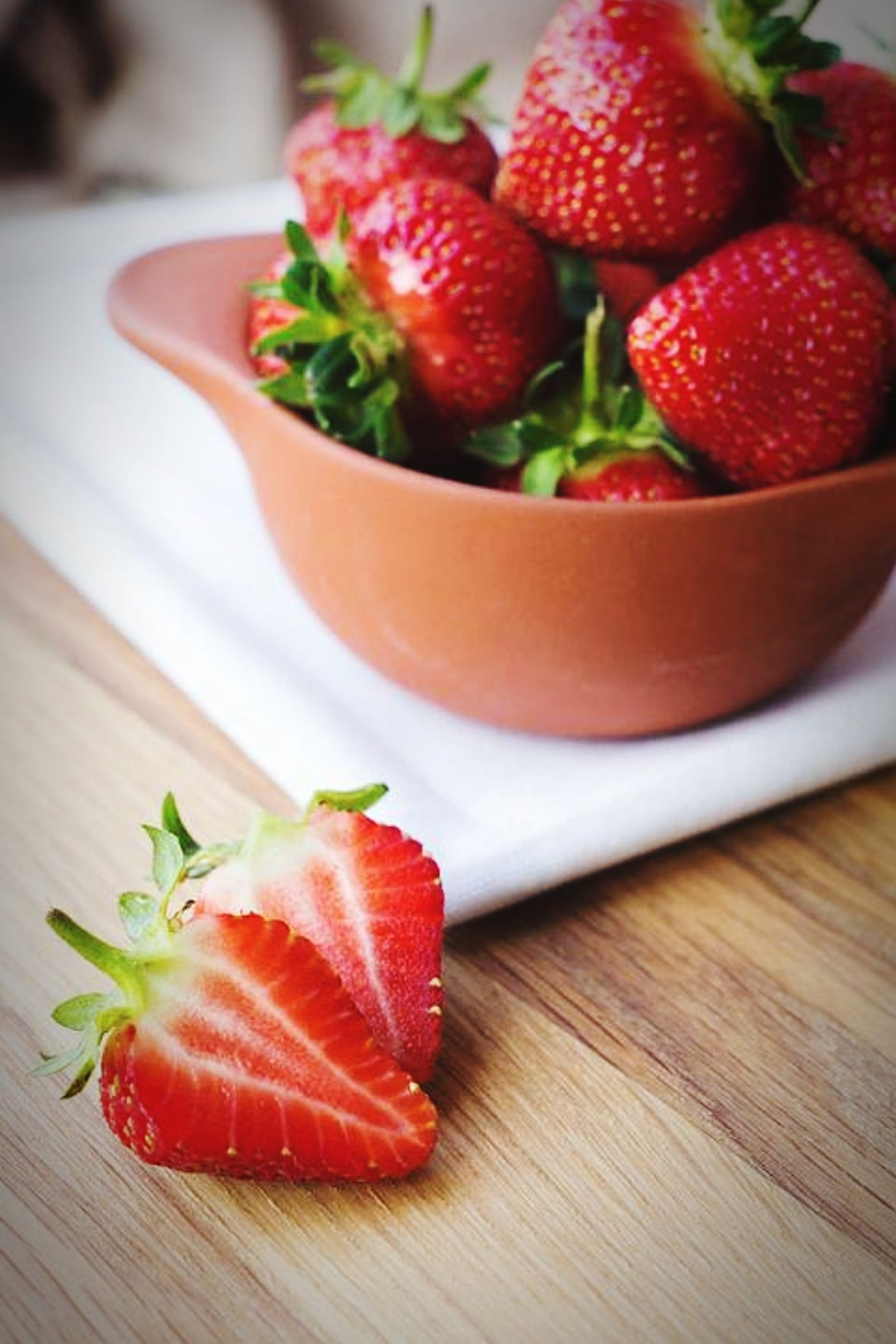 Taking a break from studying :) 🍓 Strawberry Fruit Food Sweet♡ No People Close-up Day Table Red Freshness Healthy Eating Lovely Day :) Peaceful Moment