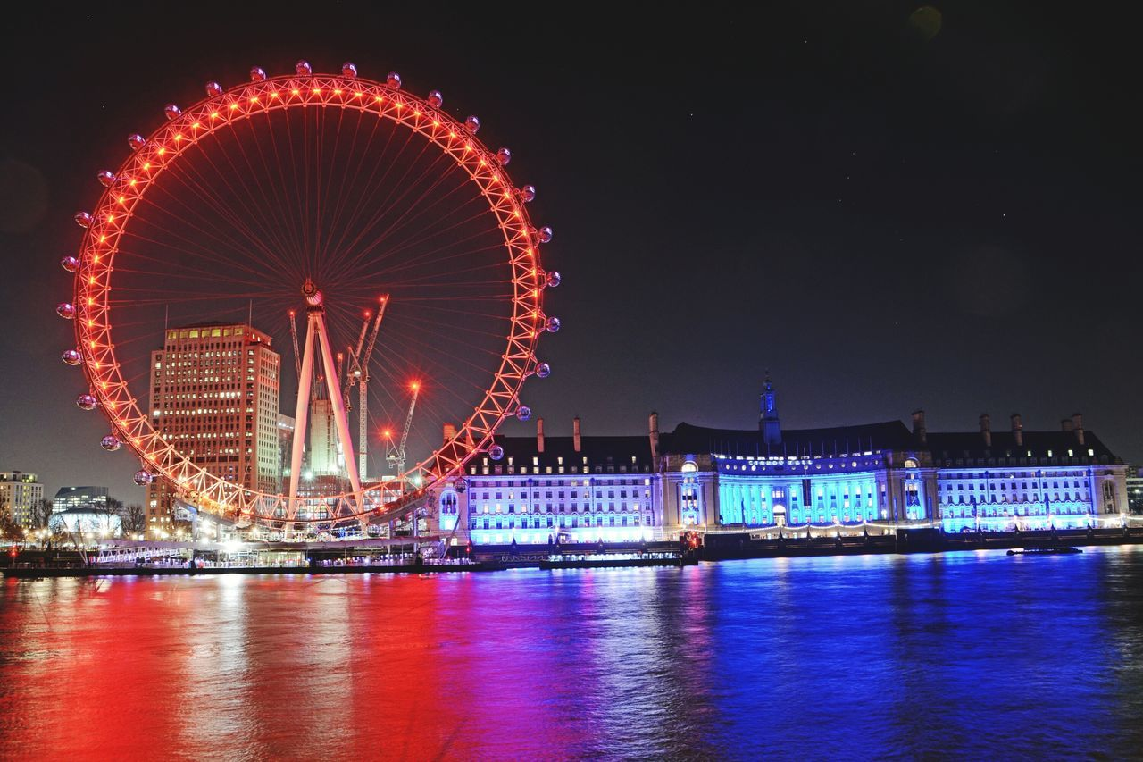 London Eye Colours Reflections Thames Tourism Illuminated Lights In The Dark Cityscape Westminster Bridge Travel Destinations Scenics Night Photography EyeEm Best Shots London Silhouette Architecture History Outdoors EyeEm Street Light Reflection
