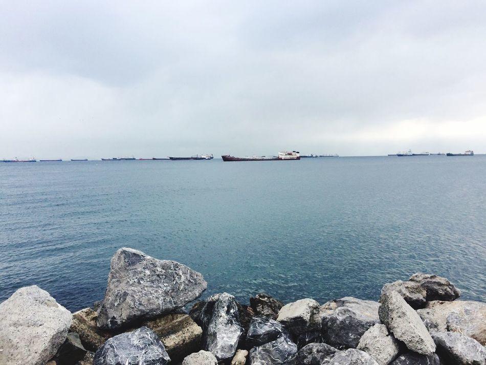 Istanbul Turkey Rocks Cold Ship Sea Winter