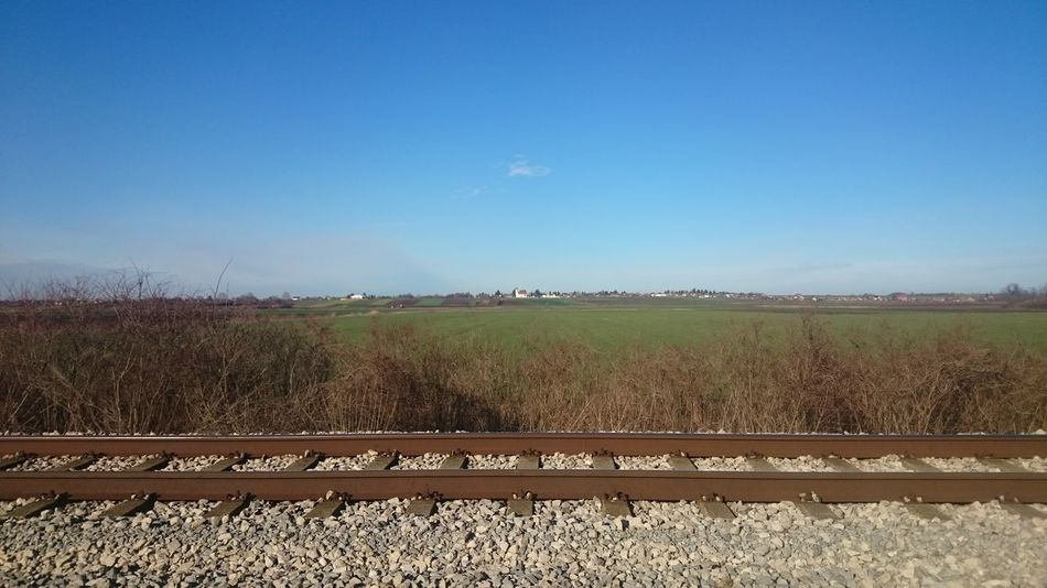 Beauty In Nature Blue Clear Sky Day Landscape No People Outdoors Railroad Track Scenics