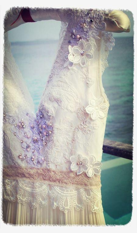 White lace pleated long dress detail Vintage Vintage Fashion Dress Details Lajospourpre