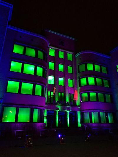 Kaunas Central Post Office Lights Green Color Neon Blue Nightlife Night City Life