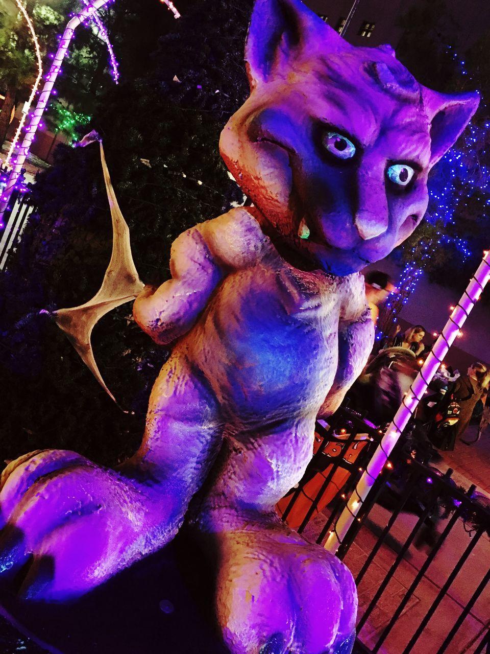 statue, art and craft, night, sculpture, no people, indoors, illuminated, close-up, animal themes, carousel