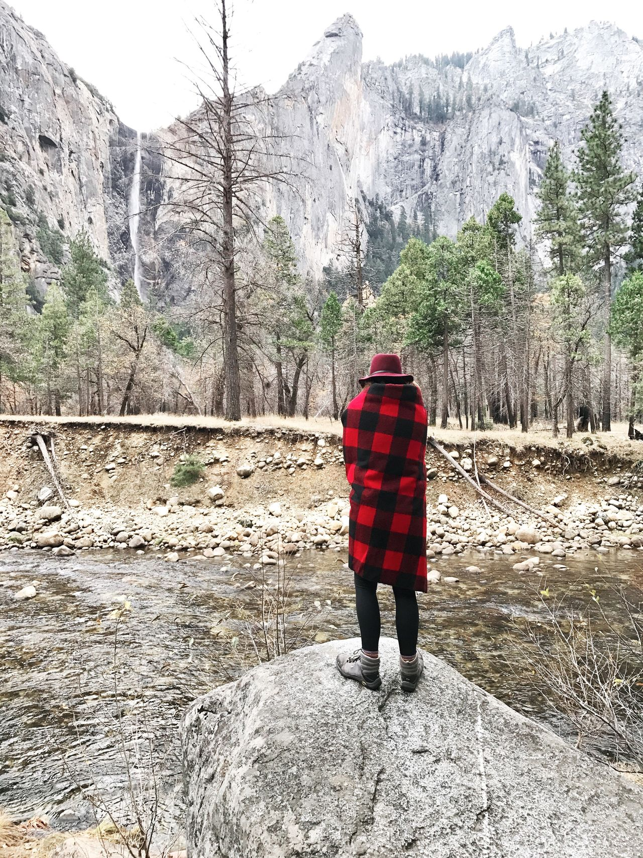 Rear View Full Length Mountain Cold Temperature Winter Rock - Object Hiking Nature Red Warm Clothing Snow One Person Outdoors Real People Tree Standing Day Beauty In Nature Adventure Landscape Always Be Cozy