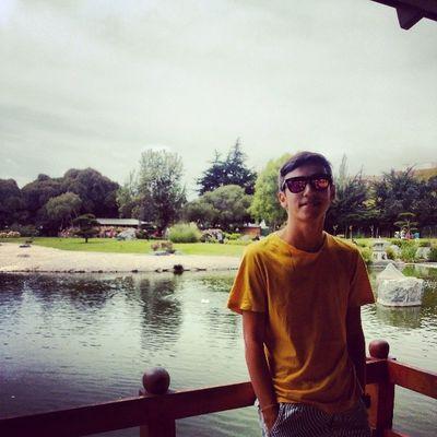 Visitando parque japonés