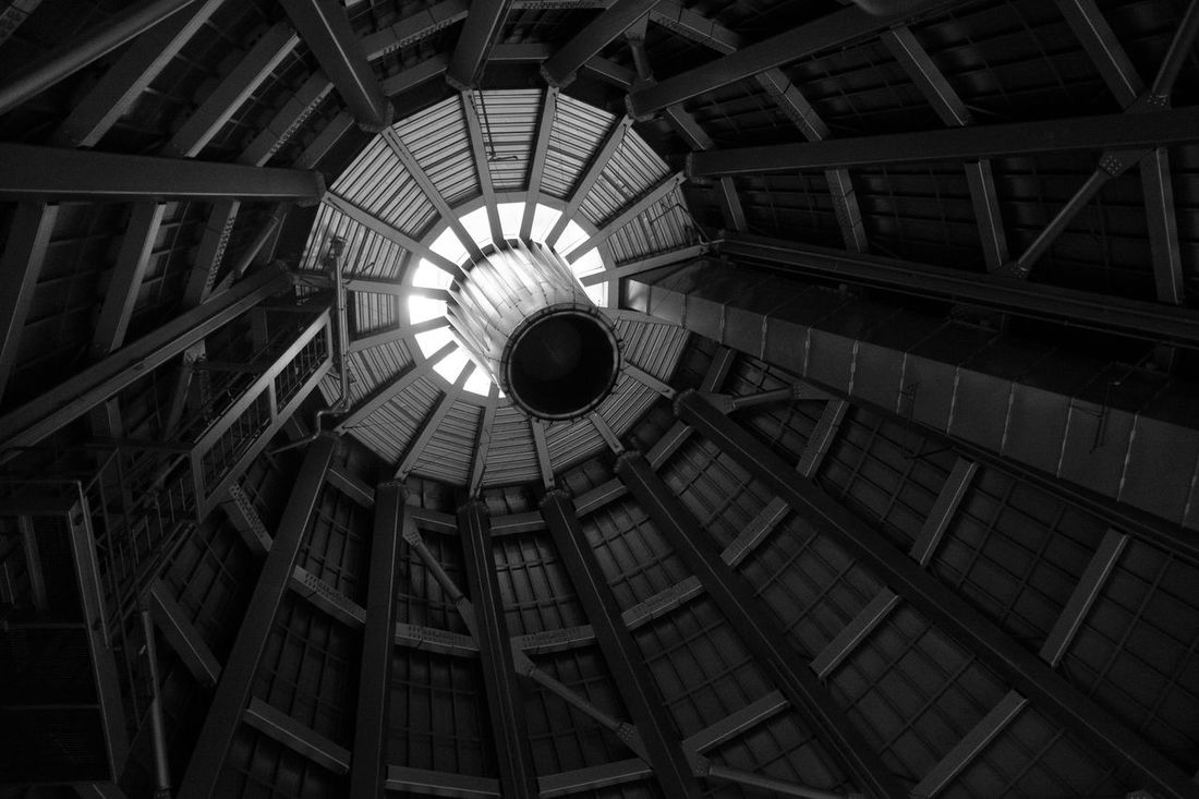 Seattle Museum of Glass, Hot Shop ceiling Black & White Black And White Black&white Blackandwhite Ceiling Chimney Hotel Shops  Museum Of Glass Seattle Steel Structure Structures
