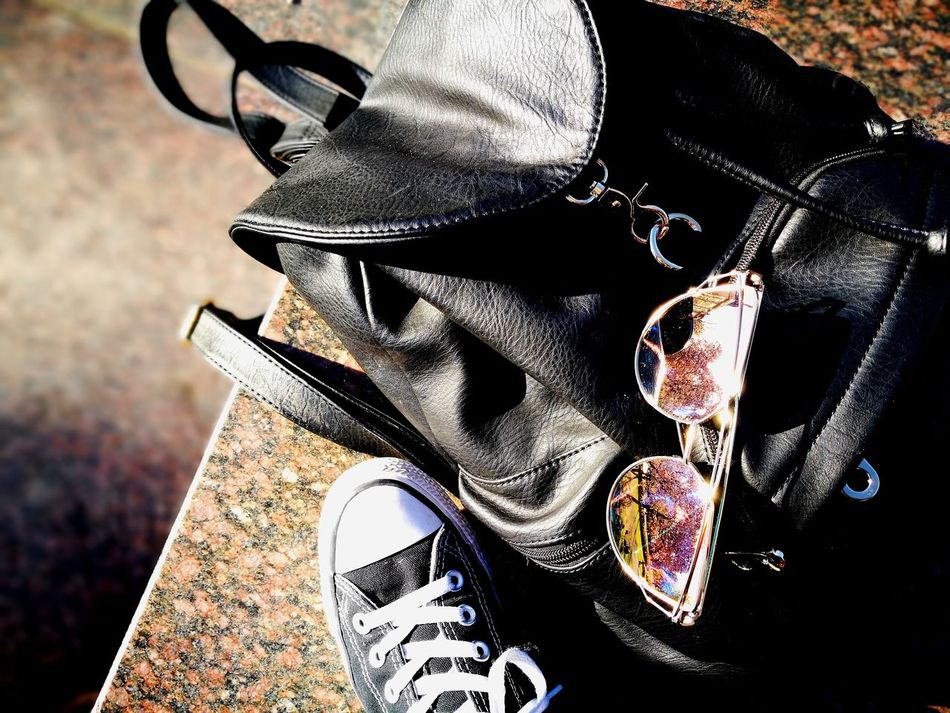 black converse all stars, black bag and crazy sunglasses. this is my daily gear, along with a bike :) Retro Styled Midsection Focus On Foreground Old-fashioned Close-up Uniform Adults Only Outdoors Day Human Body Part EyeEmNewHere Huaweiphotography Sun Sunglasses Reflection Shiny Trees Inthemoment Intheheartofthecity Millennial Pink Daily Life Daily Routine Full Frame Converse Dreamscapes & Memories Welcome To Black