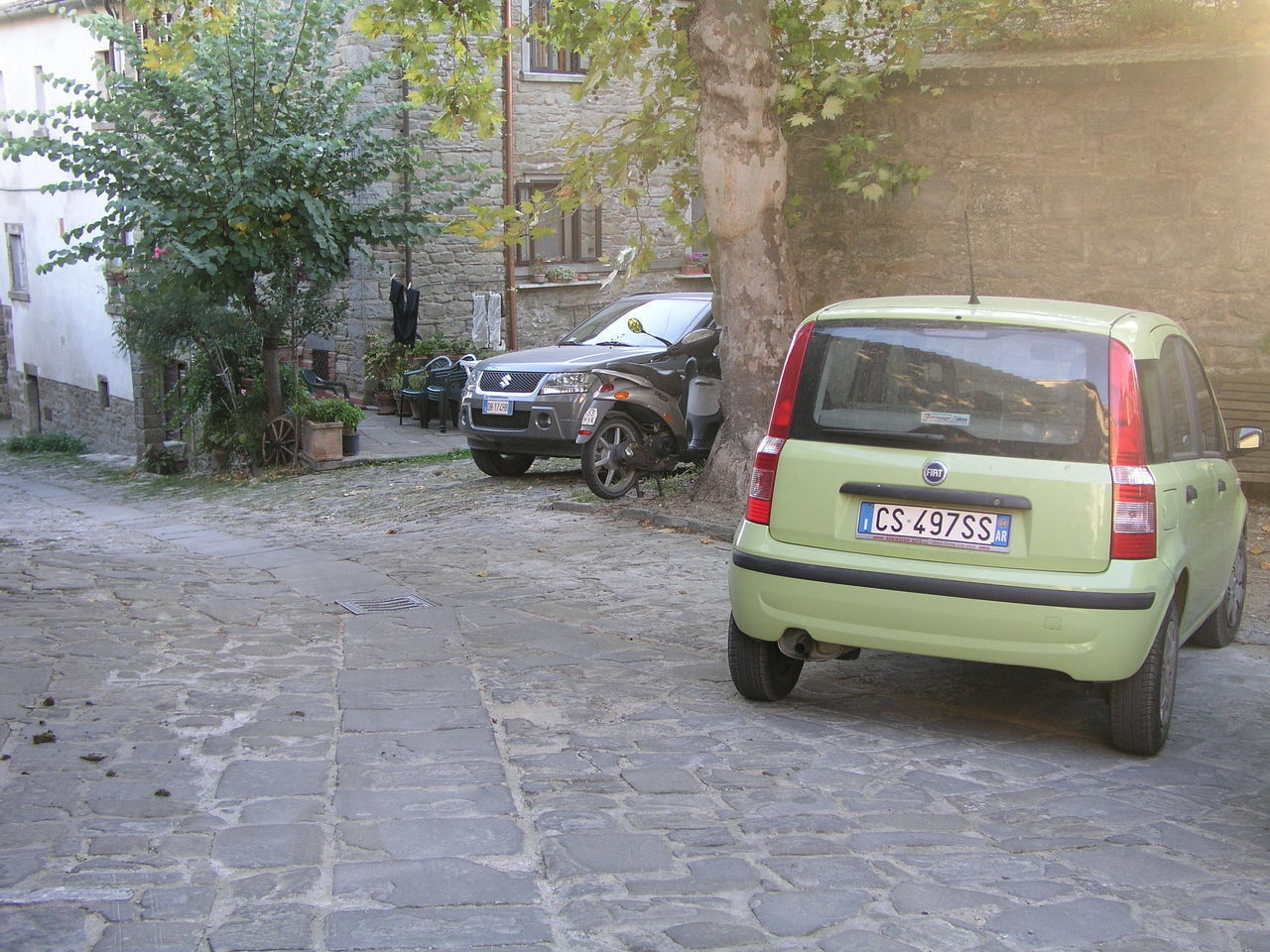 Architecture Car Day Fiat Panda Land Vehicle Lime Color Mode Of Transport No People Outdoors Stationary Transportation Tree
