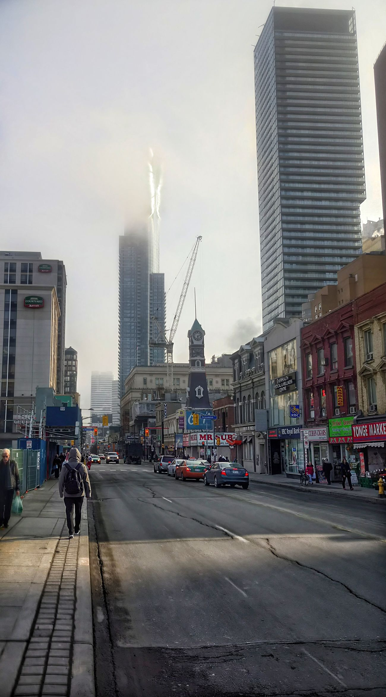 City Street City Life Skyscraper City Street Building Exterior Downtown District Urban Skyline Architecture Streetphotography City Toronto Winter Urban Photography Torontophotographer Cold Temperature Fog Mist