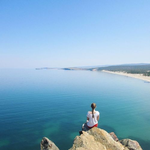 Baikal Water Blue One Person Sea Nature Beauty In Nature Sitting Clear Sky Sky Healthy Lifestyle Mountain Summerdays  Sunny