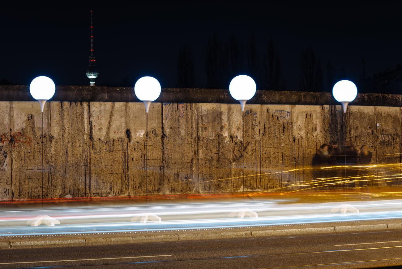 Alex DDR Grenze Fernsehturm German Border Illuminated Lights Night
