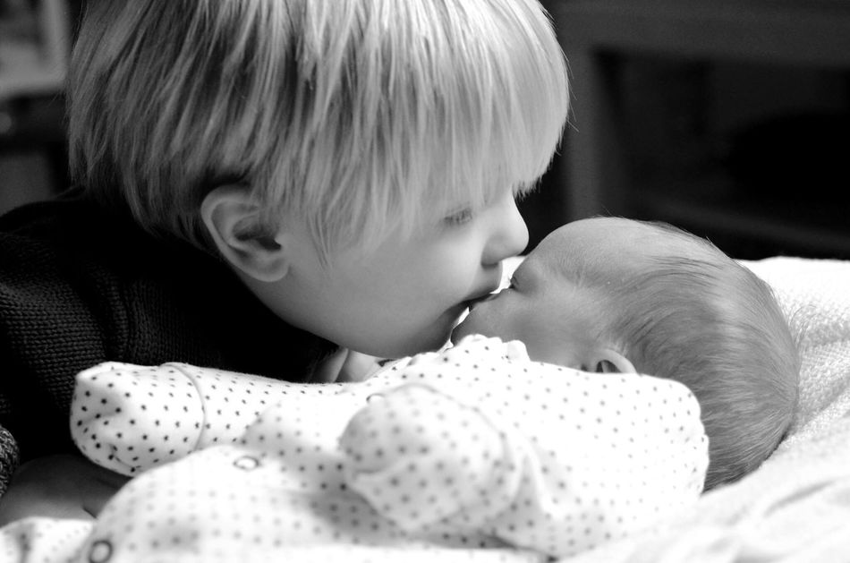 Brotherly love Baby Innocence Childhood Indoors  Babyhood Close-up Real People People Newborn Kissing brothers Boys Brothers Pacifier Day One Person Sucking Finger In Mouth Long Goodbye