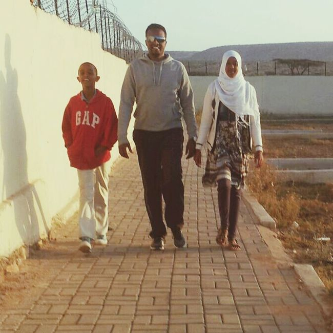 "Walking time....with my daughter ""Fadumo"" and my son ""Fahad""."