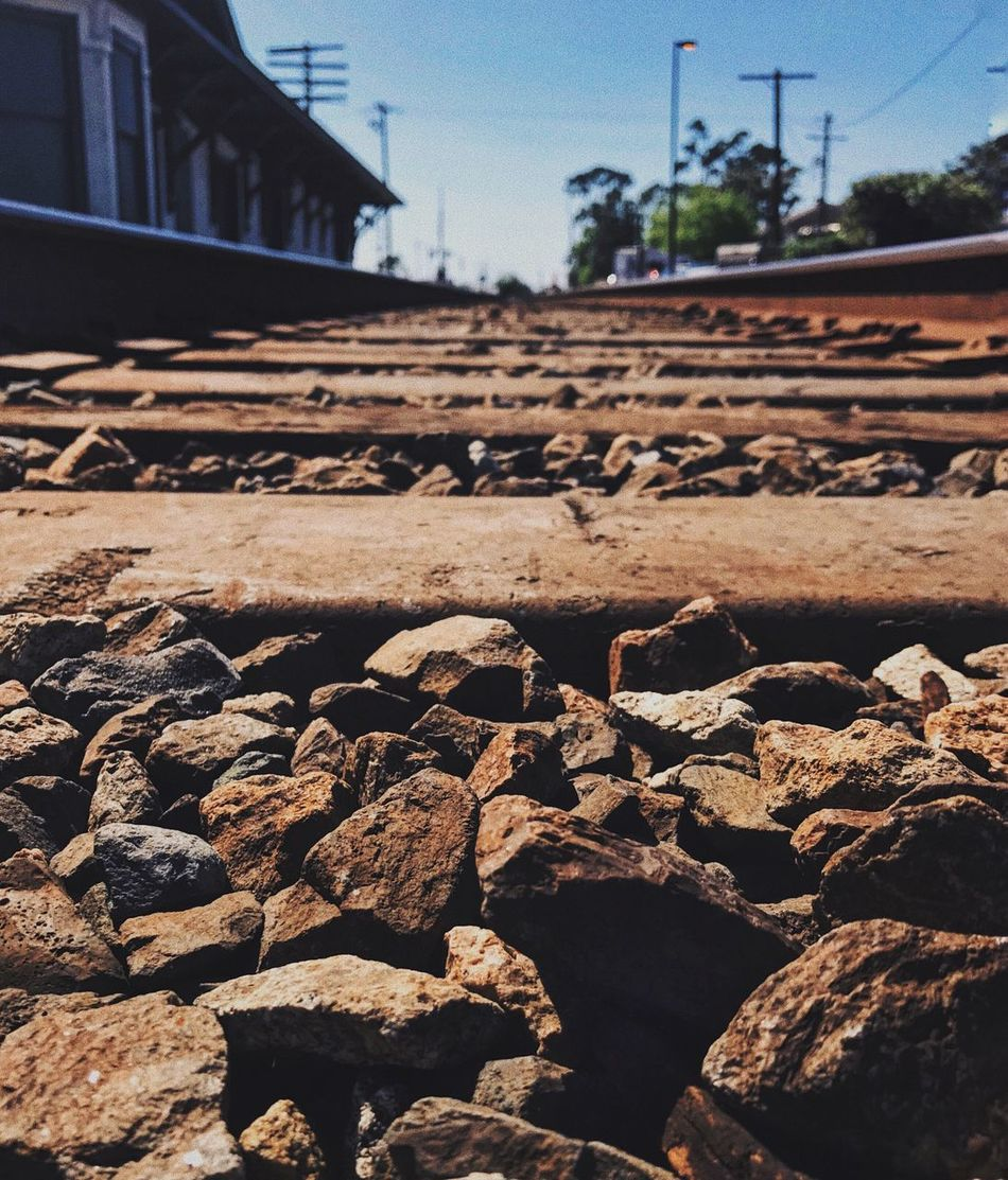Beautiful sunny day. Railroad Track No People Sky Built Structure Architecture Close-up Day Outdoors Rail Transportation Transportation Building Exterior