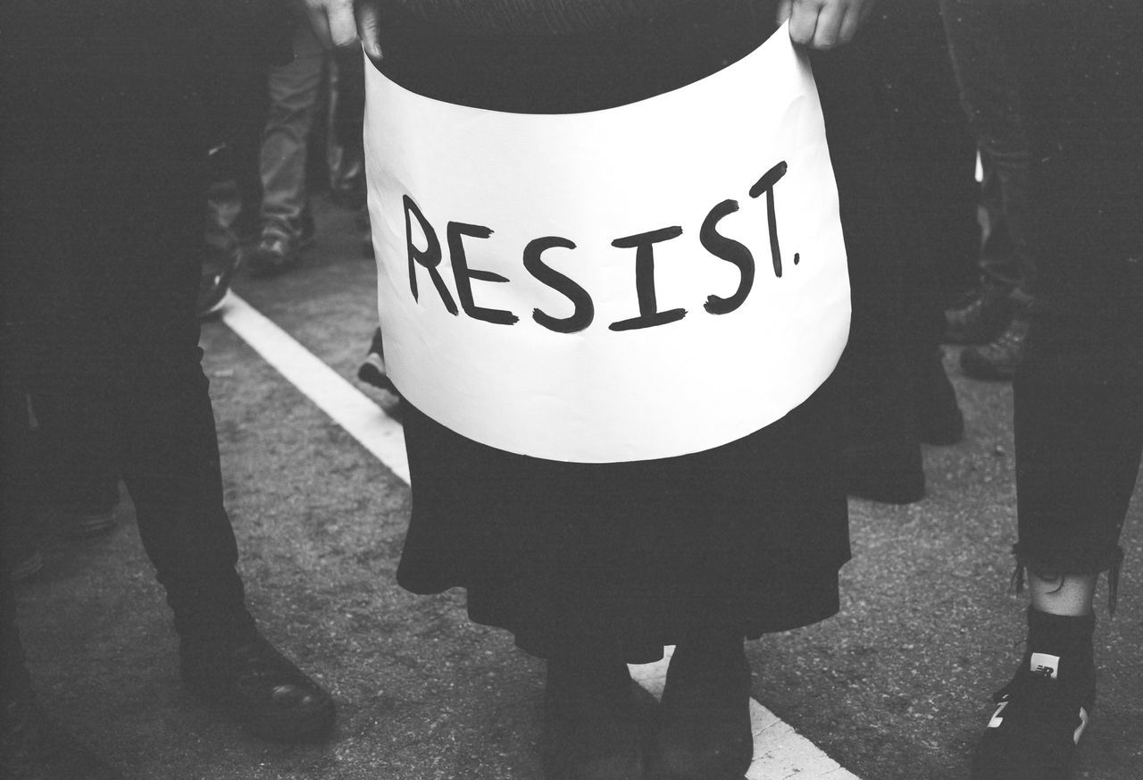 Sign at the Women's March on Washington Anti Trump Black And White Election Equality Film Girl Holding March March On Washington Marching Movement Politics Poster Power Protest Protesters Rally Resist Resistance  Rights Voice Washington DC Woman Womens Womens March
